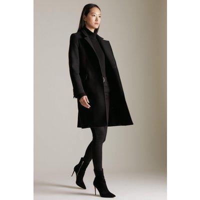 Karen Millen Italian Wool Button Collar Coat -, Black