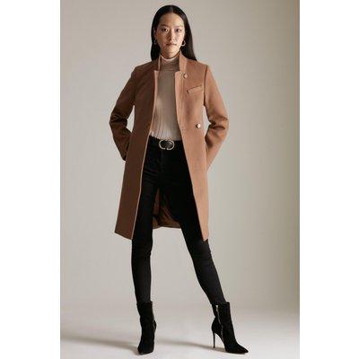 Karen Millen Italian Wool Button Collar Coat -, Camel