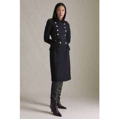 Karen Millen Italian Wool Military Trench Coat -, Navy