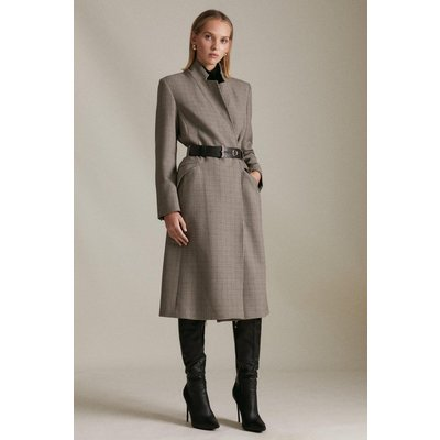 Karen Millen Petite Country Check  Notch Coat, Multi