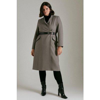 Karen Millen Curve Country Check  Notch Coat, Multi