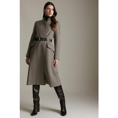 Karen Millen Country Check  Notch Neck Coat, Multi