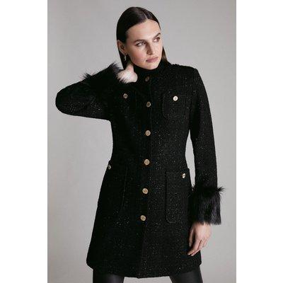 Karen Millen Sparkle Tweed And Faux Fur Cuff Coat -, Black