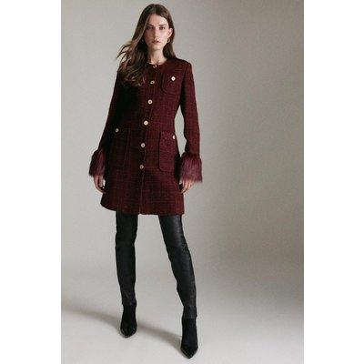 Karen Millen Sparkle Tweed And Faux Fur Cuff Coat -, Red