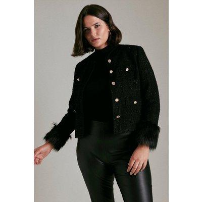 Karen Millen Curve Sparkle Tweed And Faux Fur Cuff Jacket -, Black