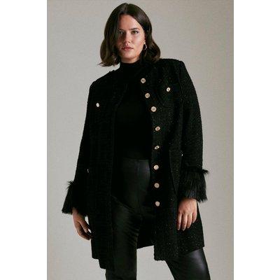 Karen Millen Curve Sparkle Tweed And Faux Fur Cuff Coat -, Black