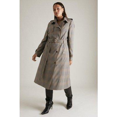Karen Millen Lydia Millen Curve Heritage Check Trench Coat, Multi