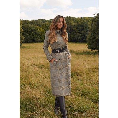 Karen Millen Lydia Millen Heritage Check Belted Trench Coat, Multi