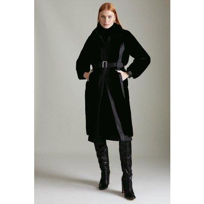 Karen Millen Faux Fur Pu Mix Belted Coat -, Black