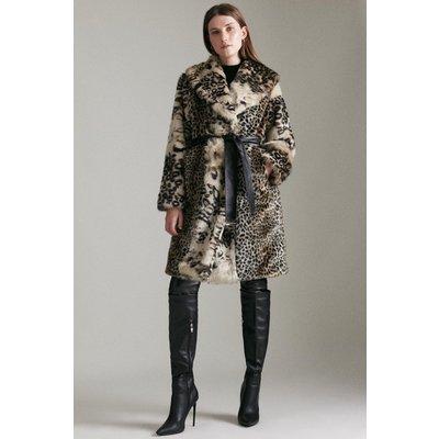 Karen Millen Mixed Faux Fur Coat -, Animal