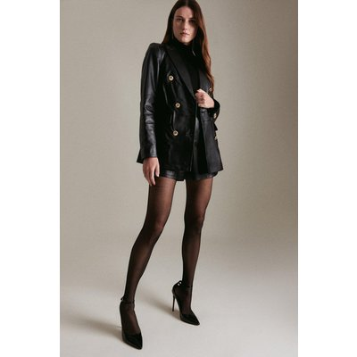 Karen Millen Leather Military Db Longline Blazer -, Black