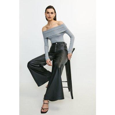 Karen Millen Super Soft Marl Jersey Rib Bardot Top -, Grey