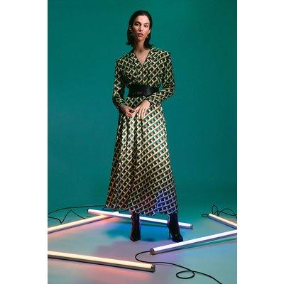 Karen Millen Geo Print Zip Detail Midi Dress With PU Belt -, Yellow