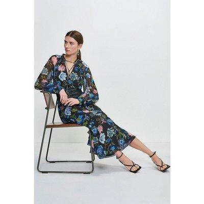 Karen Millen Soft Floral Midi Dress With Strappy Belt -, Black
