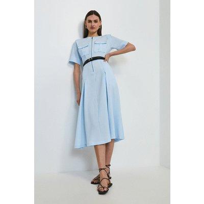 Karen Millen Textured Zip Front Midi Dress -, Pale Blue