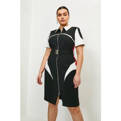 Karen Millen Curve Compact Stretch Blocked Zip Pencil Dress, Multi