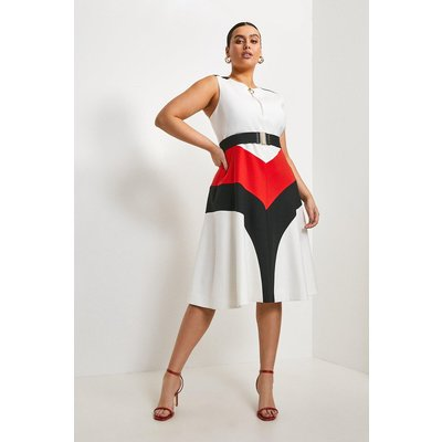 Karen Millen Curve Compact Stretch Colour Block Midi Dress, Multi