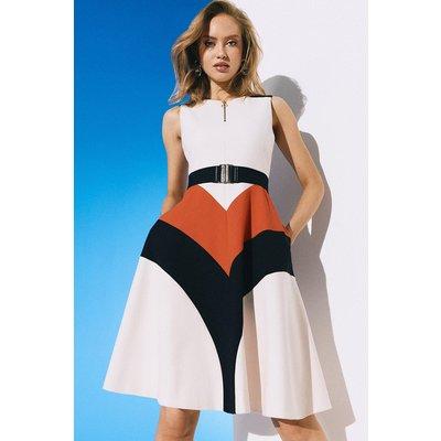 Karen Millen Compact Stretch Colour Block Midi Dress, Multi