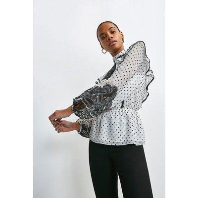 Karen Millen Cutwork Ruffle Detail Textured Blouse -, White