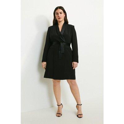 Karen Millen Curve Tuxedo Wrap Dress -, Black