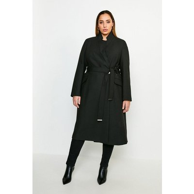 Karen Millen Curve Compact Stretch Notch Neck Belted Coat -, Black