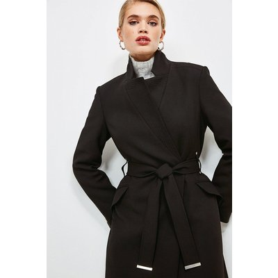 Karen Millen Compact Stretch Notch Neck Belted Coat -, Black