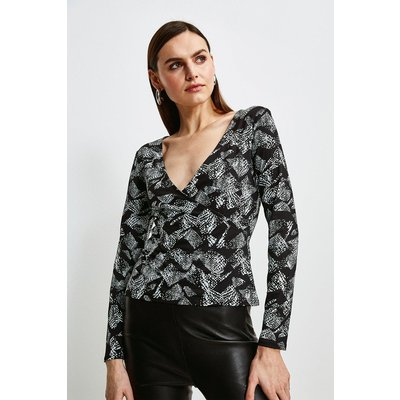 Karen Millen Jersey Wrap Top -, Animal