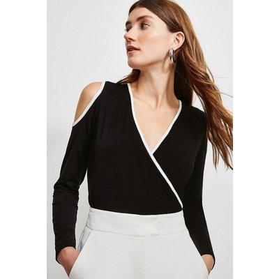 Karen Millen Tipped Viscose Jersey Wrap Top -, Black