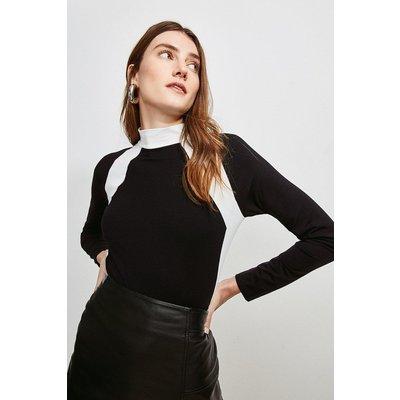 Karen Millen Jersey Colour Block Funnel Neck Top -, Black