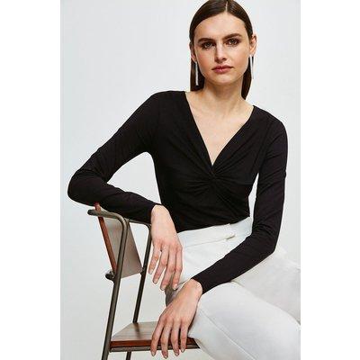 Karen Millen Knot Front Jersey Top -, Black