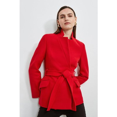Karen Millen Notch Neck Short Coat -, Red
