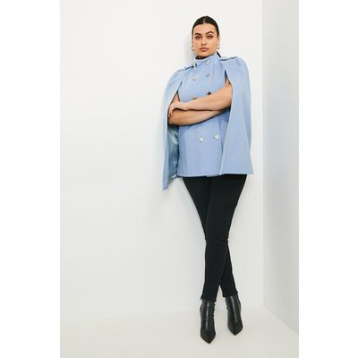 Karen Millen Curve Italian Wool Rich Military Cape -, Pale Blue