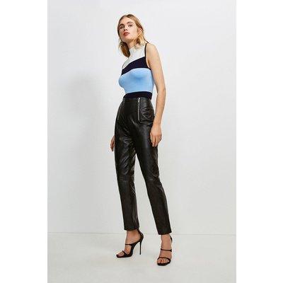 Karen Millen Leather Zip Waist Trouser -, Black