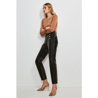 Karen Millen Leather Button Placket Trouser -, Black