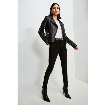 Karen Millen Leather Perforated Panel Biker Jacket -, Black