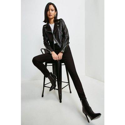 Karen Millen Leather Cropped Zip Sleeve Biker Jacket -, Black
