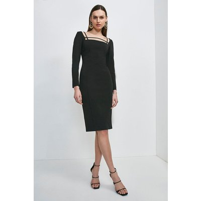 Karen Millen Italian Technical Jersey Strappy Dress -, Black