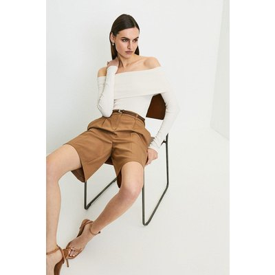 Karen Millen Jersey Rib Folded Bardot Top -, Oatmeal