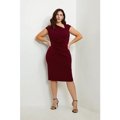 Karen Millen Curve Asymmetric Tuck Detail Dress -, Red