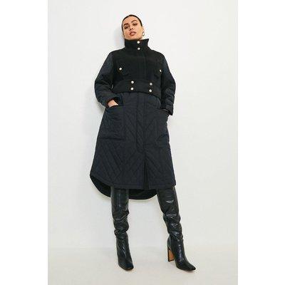 Karen Millen Curve Quilt Detail Hybrid Coat -, Black