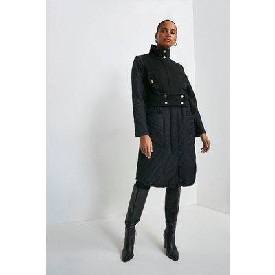 Karen Millen Quilt Detail Hybrid Coat -, Black