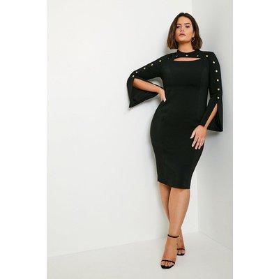 Karen Millen Curve Stud Detail Split Sleeve Pencil Dress -, Black
