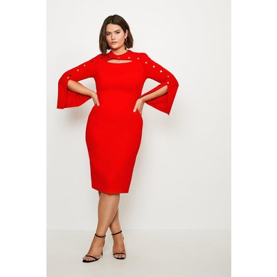 Karen Millen Curve Stud Detail Split Sleeve Pencil Dress -, Red