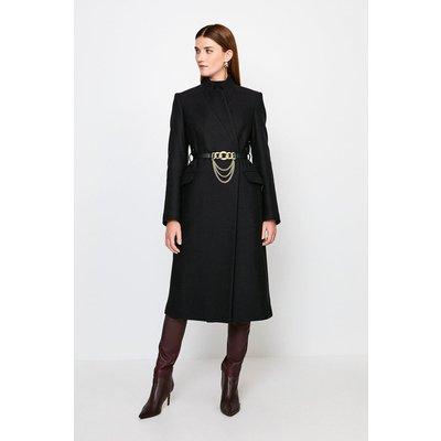 Karen Millen Notch Neck Chain Belt Coat -, Black