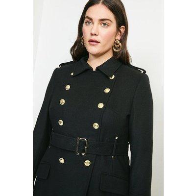 Karen Millen Curve Italian Wool Blend Trench Coat -, Black