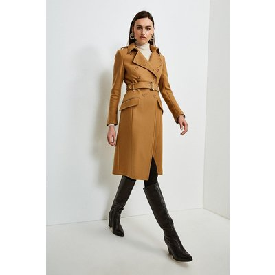 Karen Millen Italian Wool Blend Trench Coat -, Camel