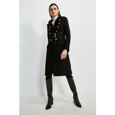 Karen Millen Italian Wool Blend Trench Coat -, Black
