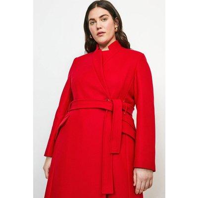 Karen Millen Curve  Notch Neck Coat -, Red