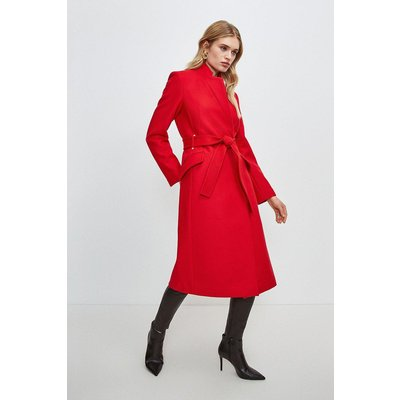 Karen Millen Notch Neck Coat -, Red