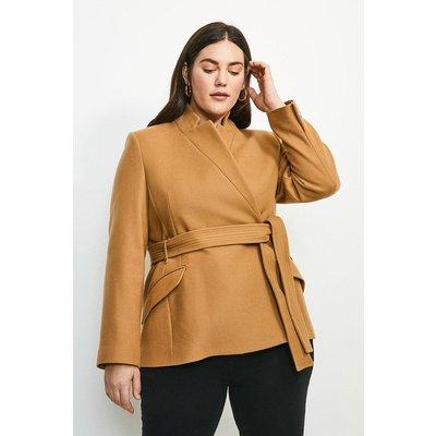 Karen Millen Curve  Notch Neck Short Coat -, Camel